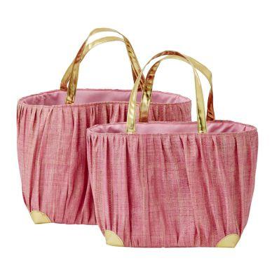 Rice Shopping Bag Pink Raffia mit Goldhenkel