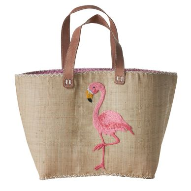 Rice Große Shopping-Tasche Pink Flamingo