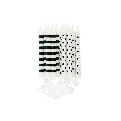 Miss Étoile Party-Kerzen Dots/Stripes Schwarz