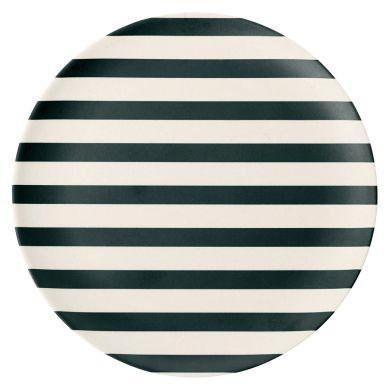 Miss Étoile Melamin Teller Stripes Schwarz 20 cm