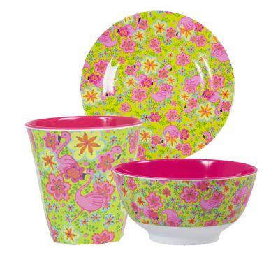 rice melamin geschirr flamingo print teller online kaufen. Black Bedroom Furniture Sets. Home Design Ideas