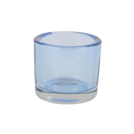 IB LAURSEN transparentes Teelichtglas Blau •