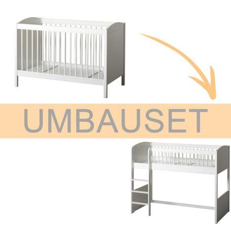 Oliver Furniture Umbauset Seaside Lille+ Baby- und Kinderbett Basic zum halbhohen Hochbett Weiß