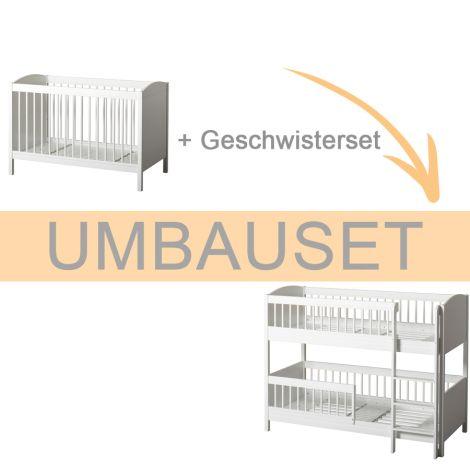 Oliver Furniture Umbauset Seaside Lille+ Baby- und Kinderbett Basic und Geschwisterset zum halhohen Etagenbett Weiß