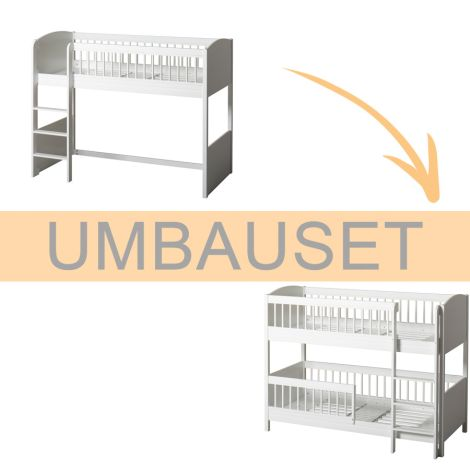 Oliver Furniture Umbauset Seaside Lille+ halbhohes Hochbett zum halbhohen Etagenbett Weiß