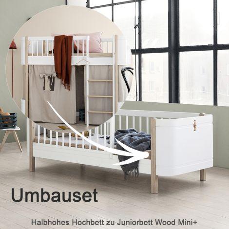 Oliver Furniture Umbauset für halbhohes Hochbett Wood Mini+ zum Juniorbett Eiche