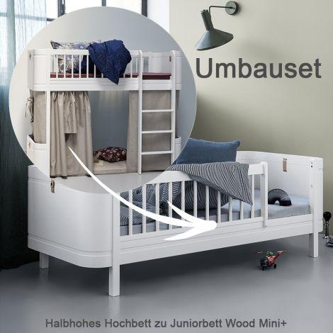 Oliver Furniture Umbauset für halbhohes Hochbett Wood Mini+ zum Juniorbett Weiß