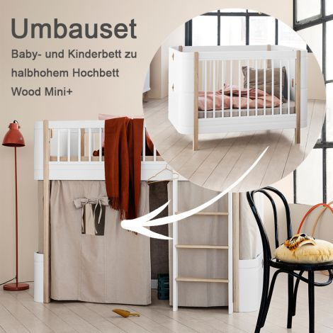 Oliver Furniture Umbauset für Baby- und Kinderbett Wood Mini+ zum halbhohen Hochbett Weiß/Eiche