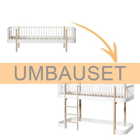 Oliver Furniture Umbauset Wood Bettsofa zum halbhohen Hochbett Weiß/Eiche