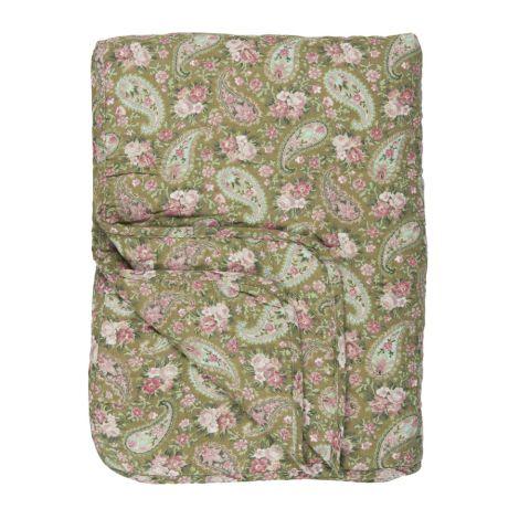 IB LAURSEN Tagesdecke Quilt Grün/Rosen Paisley