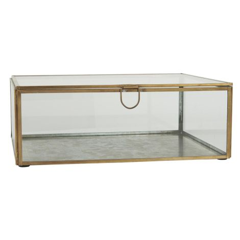 IB LAURSEN Glasbox mit Deckel Messingoptik Groß