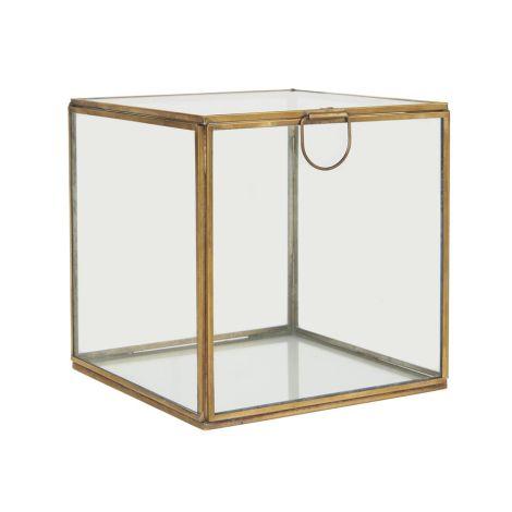 IB LAURSEN Glasbox mit Deckel quadratisch Messingoptik