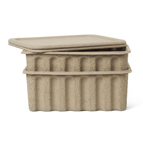 ferm LIVING Aufbewahrungsbox Paper Pulp Large Brown 2er-Set