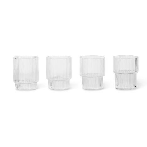 ferm LIVING Mini-Glas Ripple Clear 4er-Set