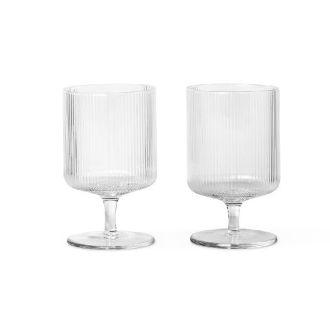 ferm LIVING Weinglas Ripple Clear 2er-Set