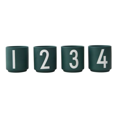 Design Letters Porzellan Espresso-Becher Dark Green 4er-Set