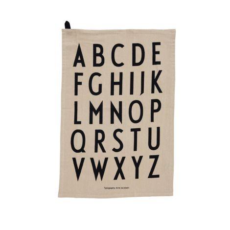 Design Letters Geschirrtuch ABC Beige 2er-Set