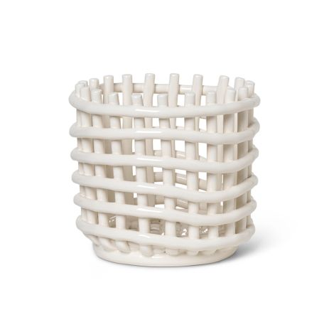 ferm LIVING Schale Keramik-Korb Small Off-White