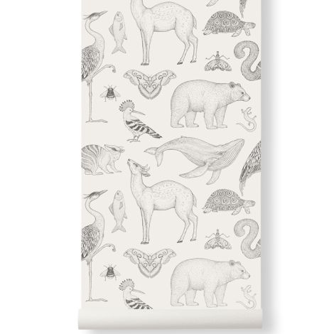ferm LIVING Tapete Katie Scott Animals Off-White