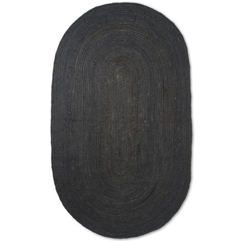 ferm LIVING Teppich Eternal Oval Jute Small Black