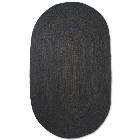 ferm LIVING Teppich Eternal Oval Jute Large Black