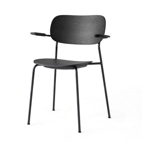 Menu Co Chair Stuhl Black Steel Base/Black Oak Armlehne