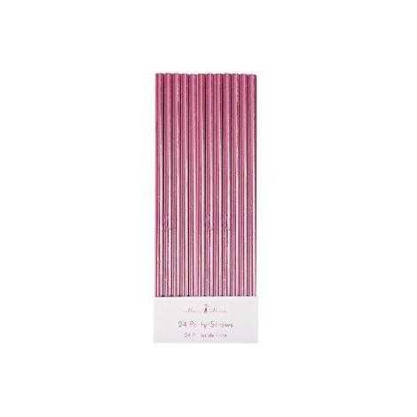 Meri Meri Trinkhalme  Pink Foil  24 Stk. •