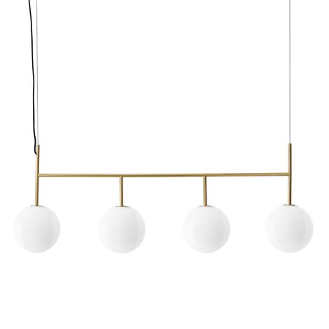 Menu TR Bulb Suspension Frame Hängelampe Brushed Brass mit glänzendem Opalglas