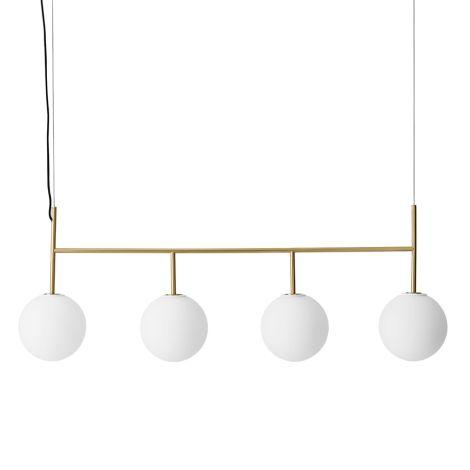 Menu TR Bulb Suspension Frame Hängelampe Brushed Brass mit mattem Opalglas
