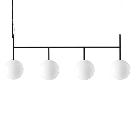 Menu TR Bulb Suspension Frame Hängelampe Black mit glänzendem Opalglas