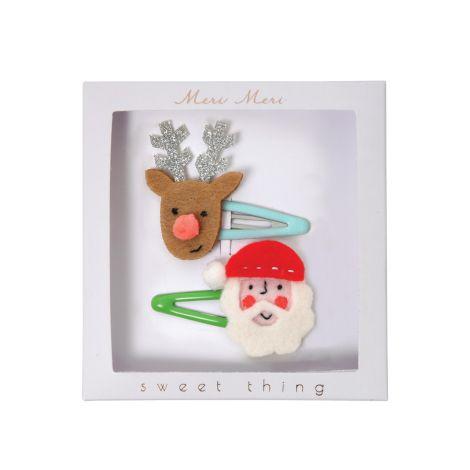 Meri Meri Haarspangen Weihnachtsmann Rentier 2er-Set