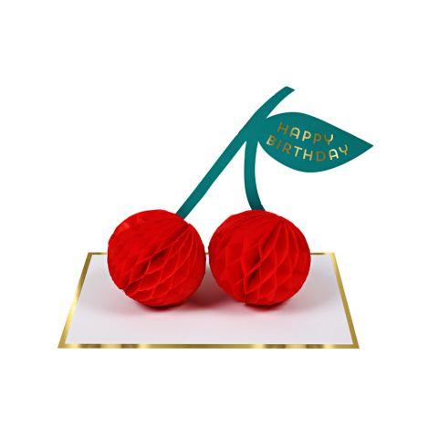 Meri Meri Karte Cherries mit Papier Pom Pom