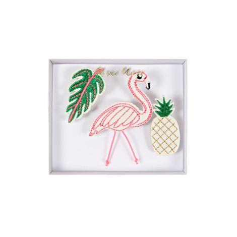 Meri Meri Anstecker Tropische Motive 3er-Set •