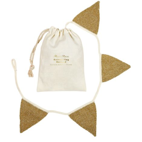 Meri Meri Girlande Gold Wimpel Knitted