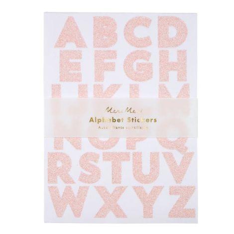 Meri Meri Aufkleber Pink glitzernde Buchstaben 10 Bögen