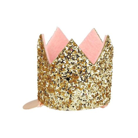 Meri Meri Haarspange Mini Krone Gold Glitter