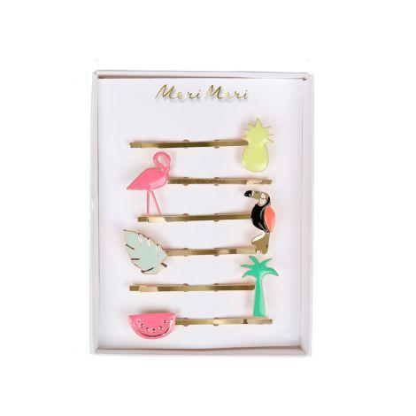 Meri Meri Haarspangen Tropische Designs Emaille 6er-Set