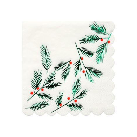 Meri Meri Papierserviette Blätter Beeren 16 Stk.