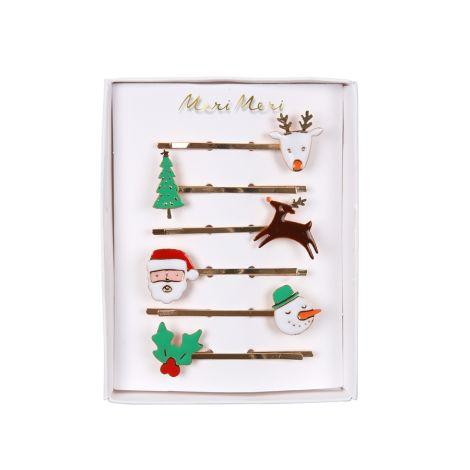 Meri Meri Haarklammern Weihnachten Emaille 6er-Set