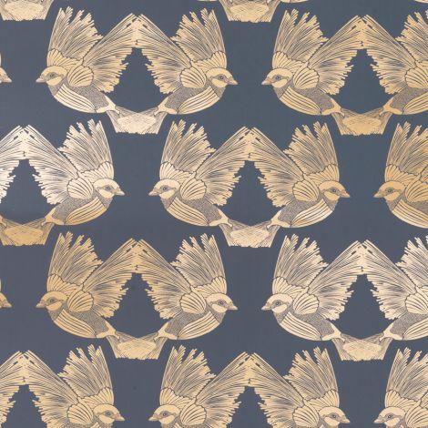 ferm LIVING Tapete Birds Deep Blue / Gold