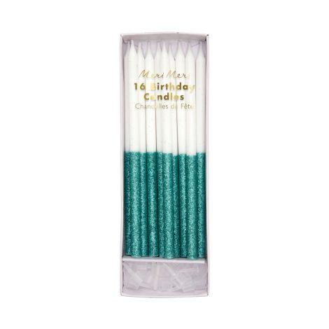Meri Meri Kerzen Green Glitter Dipped