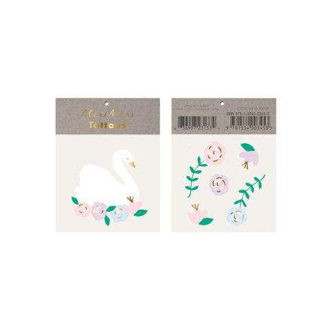 Meri Meri Temporäre Tattoos Floral Swan