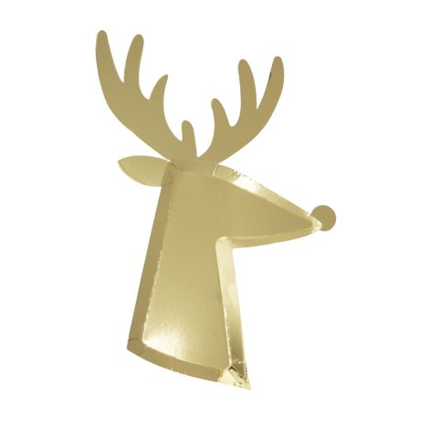 Meri Meri Pappteller Gold Reindeer 8 Stk.