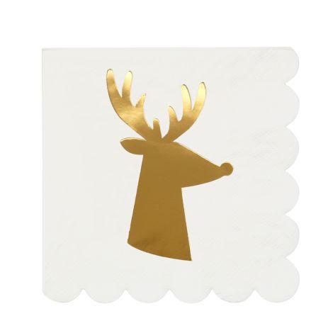 Meri Meri Papierserviette Gold Reindeer Klein 16 Stk.