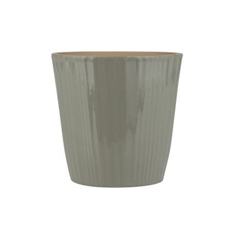 IB LAURSEN Übertopf konisch mit Rillen Grau 17,5 cm