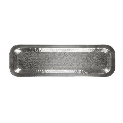 IB LAURSEN Tablett länglich mit Blattmuster antikes Silberfinish 59 cm