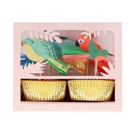 Meri Meri Cupcake-Set Tropische Vögel