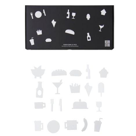 Design Letters Symbol-Set Food für Message Board White