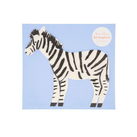 Meri Meri Papierserviette Safari Zebra 20 Stk.