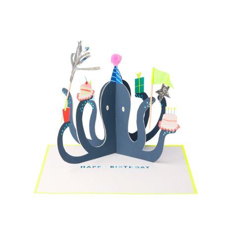 Meri Meri Aufstell-Grußkarte Party Oktopus